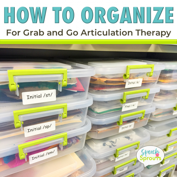 How to organize articulation therapy materials for grab and go speech therapy sessions using clear boxes labeled by phoneme for books, folders, cards and more.