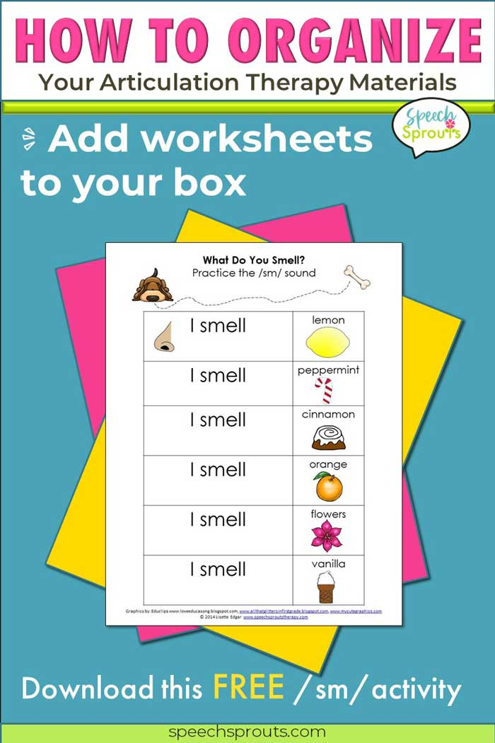 """What do you smell? Lemon? Peppermint? A free printable worksheet to use with a """"smelly bottles"""" activity when practicing s-blends in articulation therapy. speechsprouts.com"""