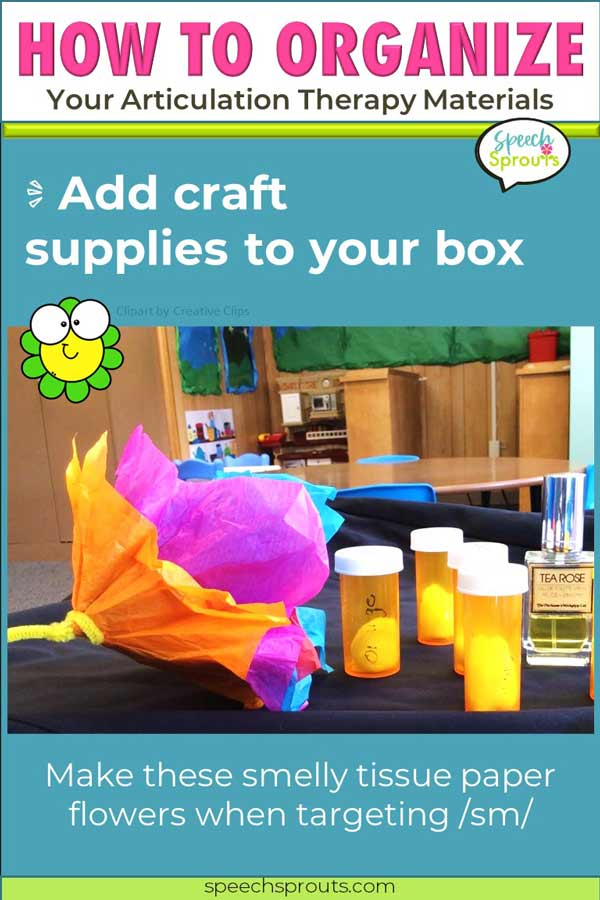 """Make this tissue paper flower craft in speech therapy and add a scented cotton ball center to """"smell"""".speechsprouts.com"""