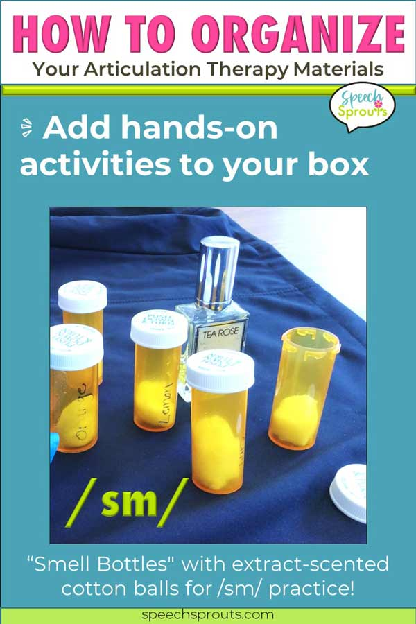 """Make these """"smell bottles"""" from pill bottles filled with extract-scented cotton for a fun articulation therapy activity for s-blends"""